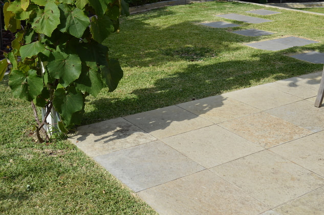 Outdoor paved tiles that have recently been watered down with a high pressure hose with green grass and plants surrounded it.